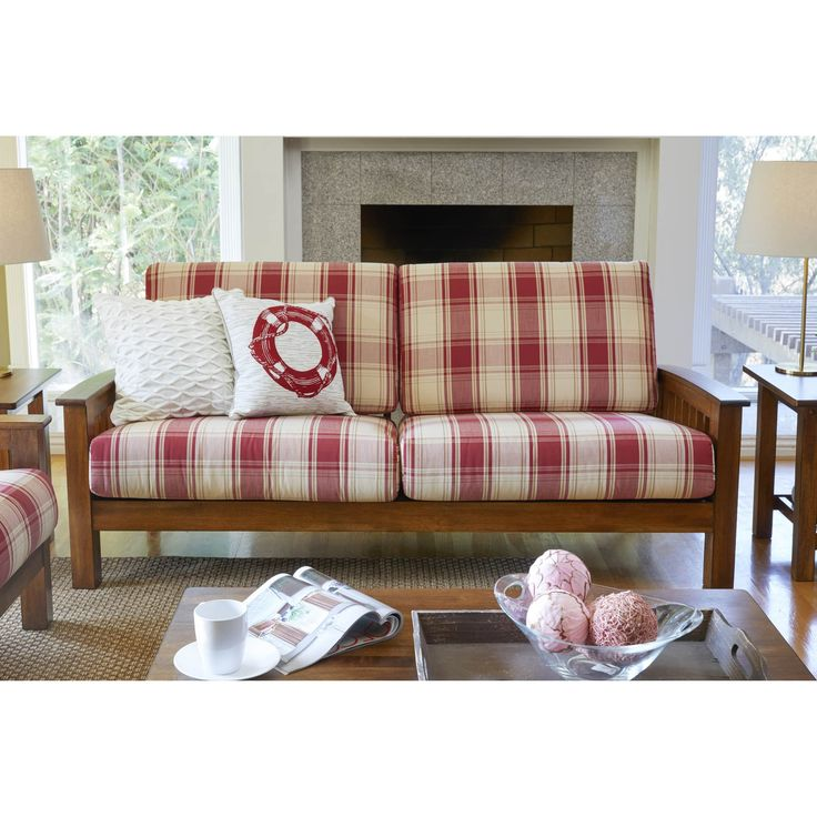 Handy Living Omaha Mission Style Sofa With Exposed Wood Frame | Products |  Pinterest | Red Plaid, Outlet Store And Products
