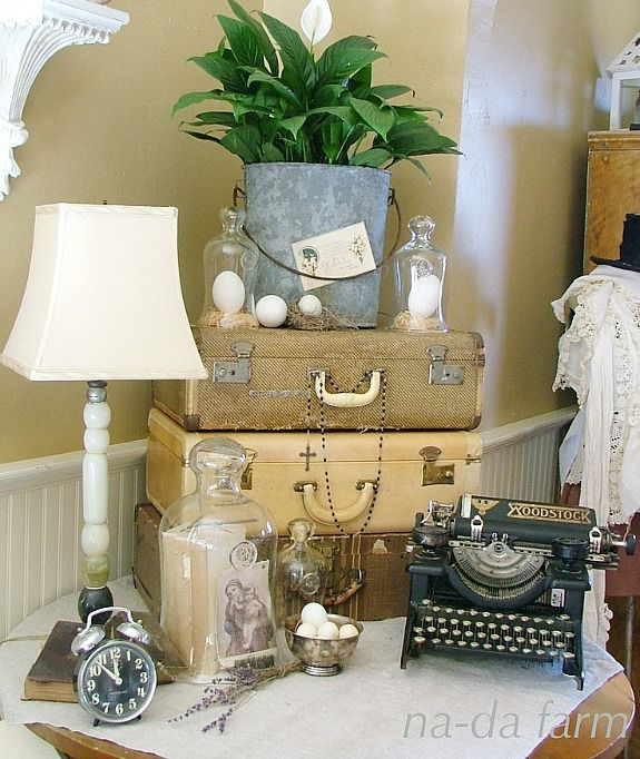 Decorating with Old Farm Junk | Use them in displays like this one found at Na-Da Farm Life