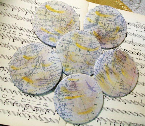 Map Coaster Set East Asia/Pacific Rim Round Coasters Antiqued