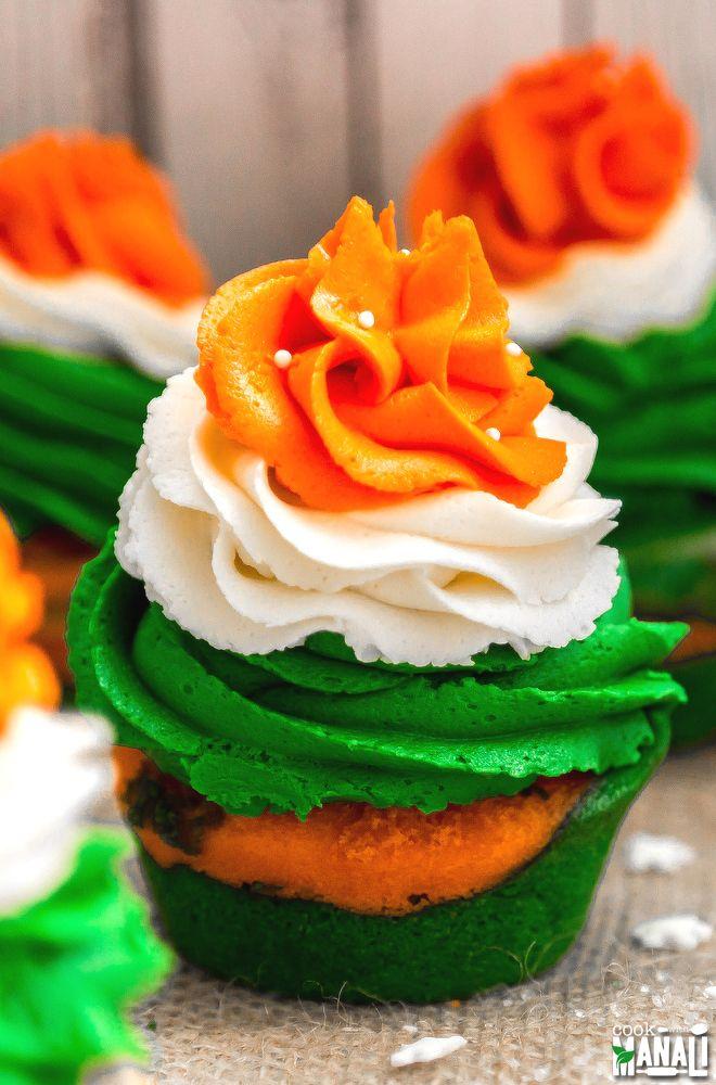 Indian Tiranga Cupcakes