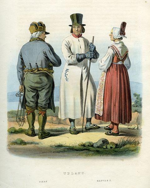 Folkdräkter från Tierp och Häverö, Uppland, Sverige. Plansch ur Svenska folkets seder, bruk och klädedrägter (1863) tecknad av Carl Anders Dahlström.