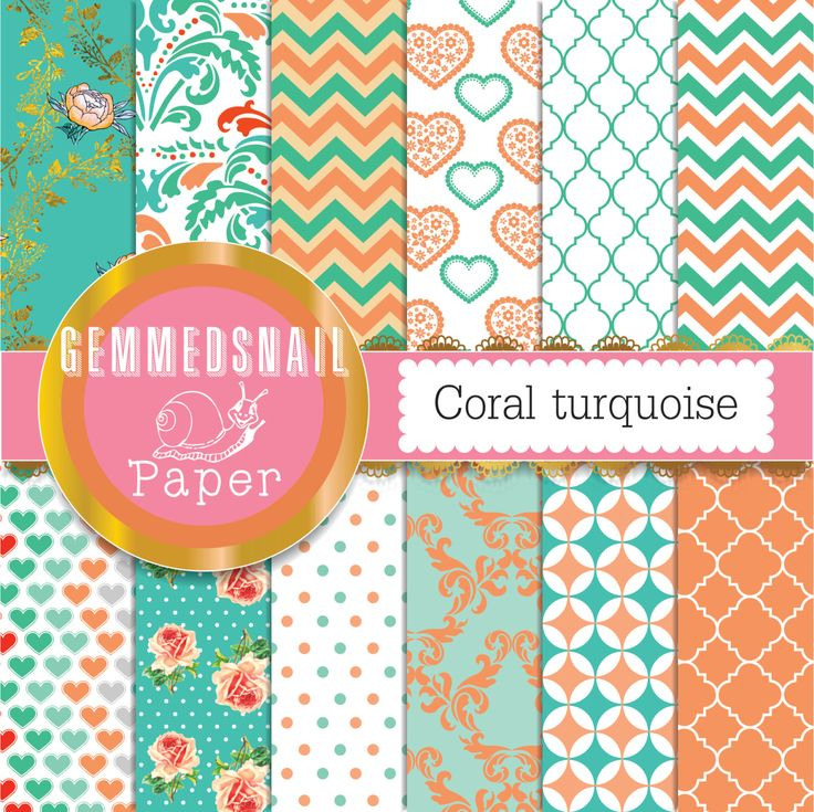 Coral turquoise digital paper, coral aqua digital paper, in subtle orange and teal colors