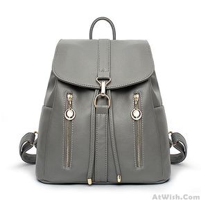Wow~ Awesome Causal Soft Leather Travel Rucksack Zipper Women's Shopping Backpacks ! It only $39.99 at www.AtWish.com! I like it so much<3<3!