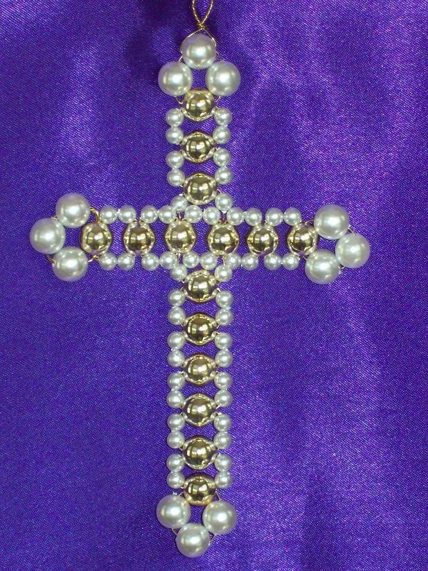 Fancy Latin Cross Chrismon-style Ornament Bead Kit - heirloom quality beads. $7.00, via Etsy.