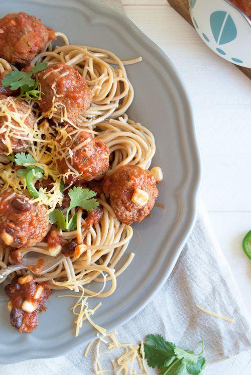 Mexicaanse spaghetti met gehaktballen