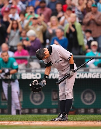 Ichiro, the newest NY Yankee, taking a bow for cheering Seattle Mariners fans.  Thanks for the great run, Ichiro!