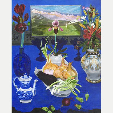 Blue Still Life Onions & Aubergine by Christiane Kubrick