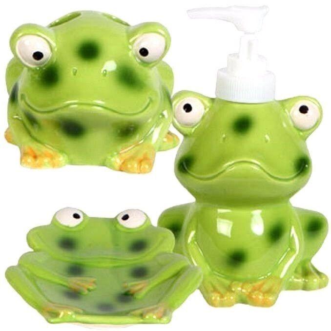 New Frog Bathroom Accessory Set Soap Dish Toothbrush Holder Soap Dispenser  | eBay