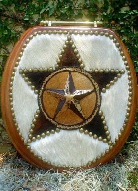 Cowhide Western Decor Cowboy Oak Star Toilet Seat…would be neat in our rustic bathroom