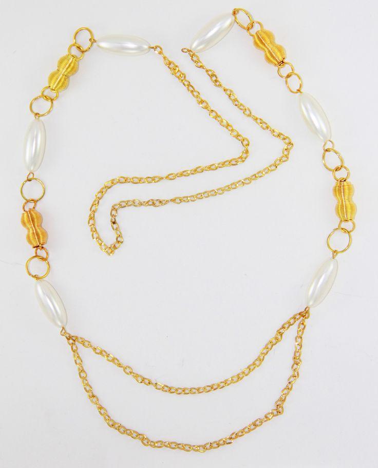 Gold İnci Kolye 56 cm uzunlugunda. www.suanyemoda.com