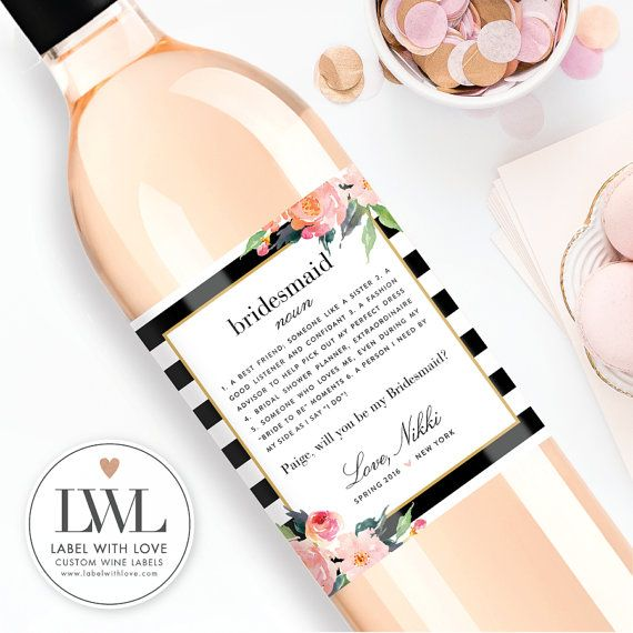 Custom Bridesmaid Proposal Gift Bridesmaid Wine by LabelWithLove