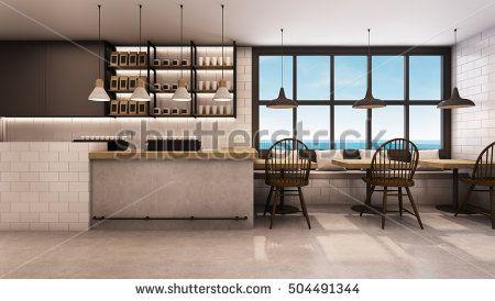 Restaurant & Shop design modern take sea view - 3D render