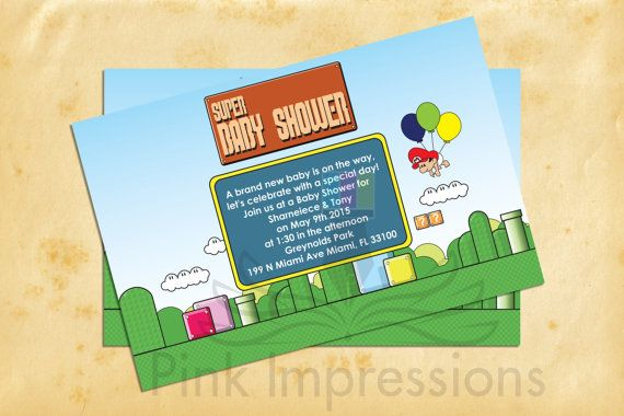 Super Mario baby shower themed invitations by PinkImpressions