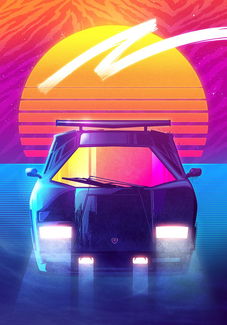 An ongoing personal art series exploring the visual style and form of retrowave, synthwave, vaporwave and outrun musical styles .