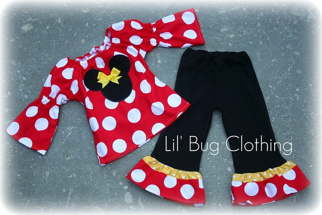 Jumbo Dot Red Yellow Minnie Mouse Peasant Top and Pant