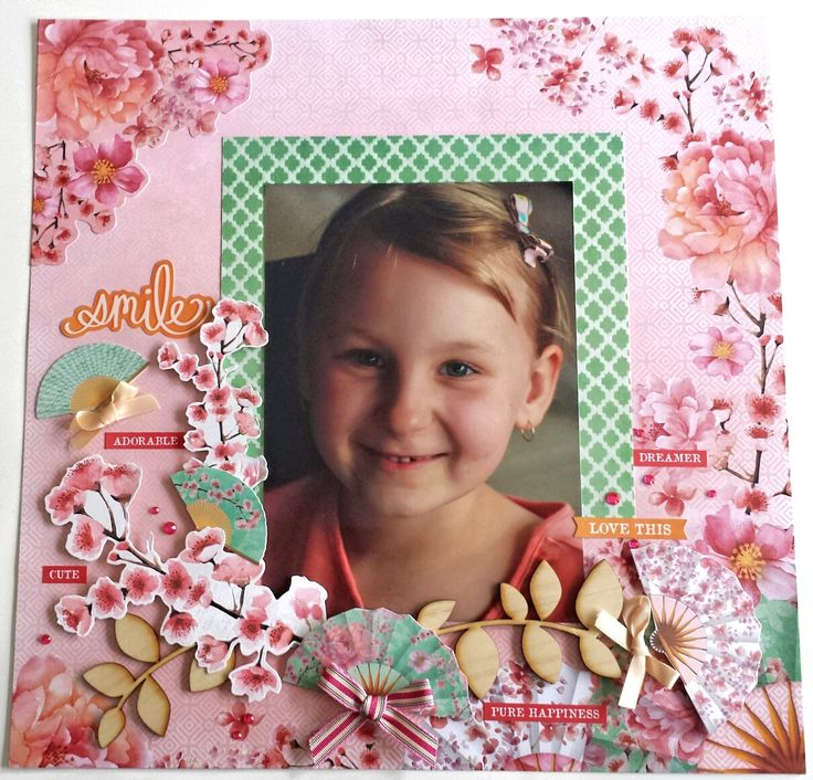 'Smile Love This' Layout by Amanda Baldwin DT for Kaisercraft using Cherry Blossom Collection - Wendy Schultz ~ Scrapbook Pages 1.