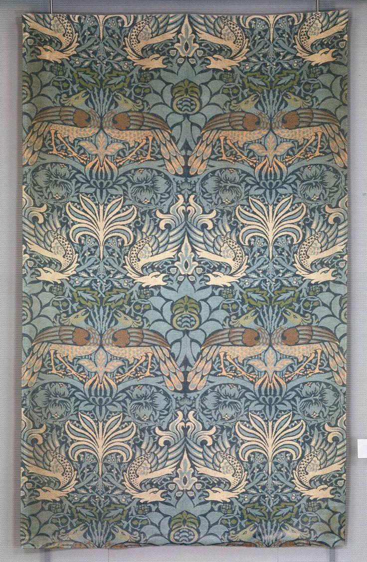 """William Morris, Printed Fabric """"Peacock"""" 1878."""