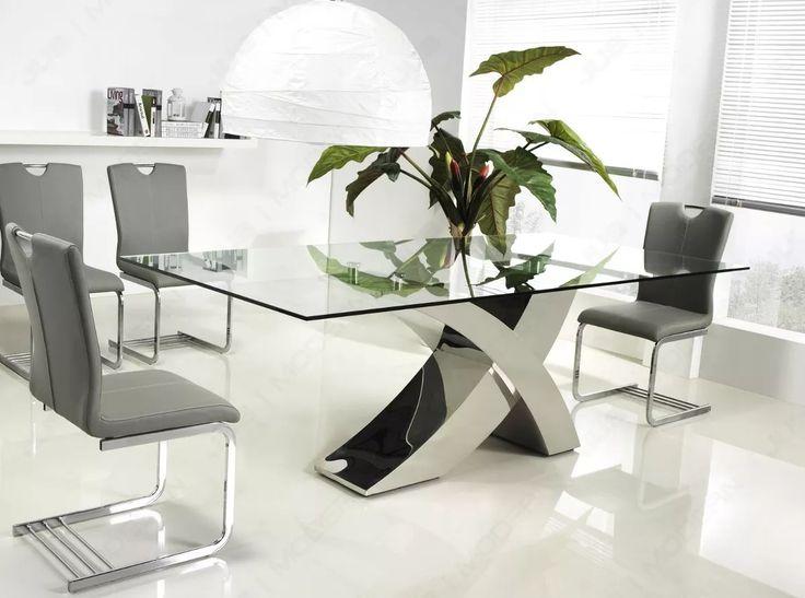 Mesa De Comedor Vidrio Templado Cromo 2x1m Buena Luz Hogar. Glass Dining  TableModern ...