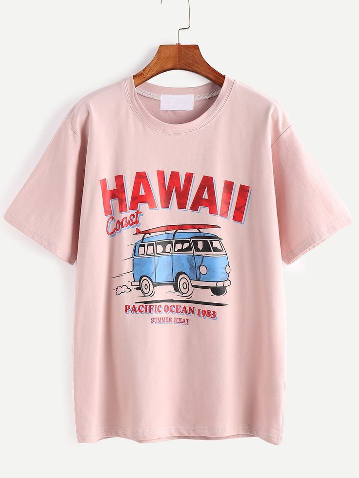 Rosa T-Shirt mit Buchstaben und Cartoon-Print – SHIN (SHEINSIDE)