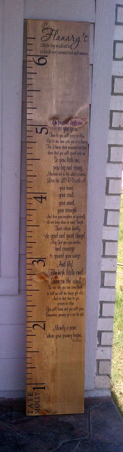 Growth chart, room for all family's children, fully customized to fit your family. $75.00, via Etsy.