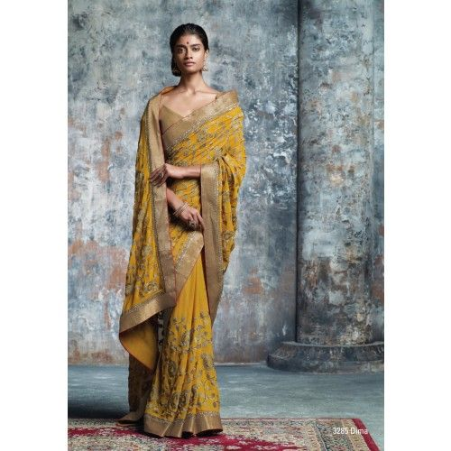 Laxmipati Marvelous Mustard Georgette Saree Online Shopping in India for Women Clothing  #Laxmipati #Sarees