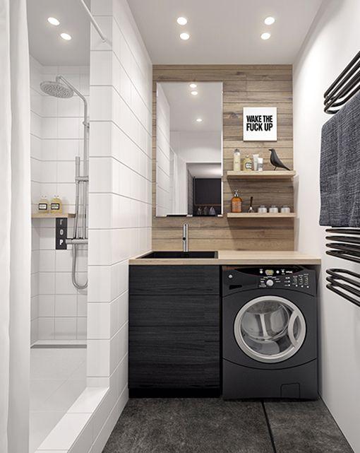 Zonas de lavado y planchado en cuartos de baño