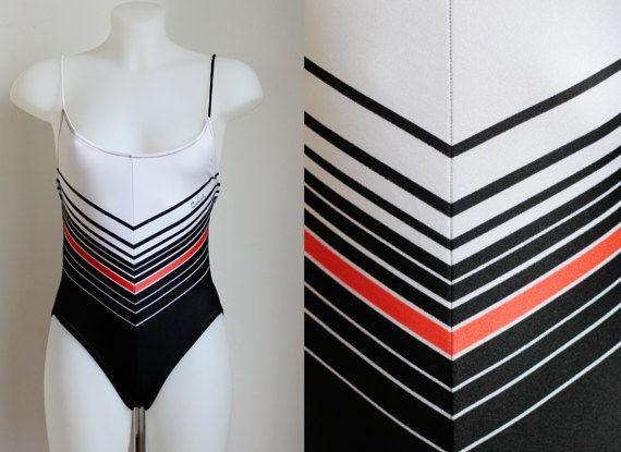 Pierre Cardin costumedonna intero bianco e nero anni 80 XS-S, costume da bagno colorato vintage Regali estivi per lei - Articolo nuovo