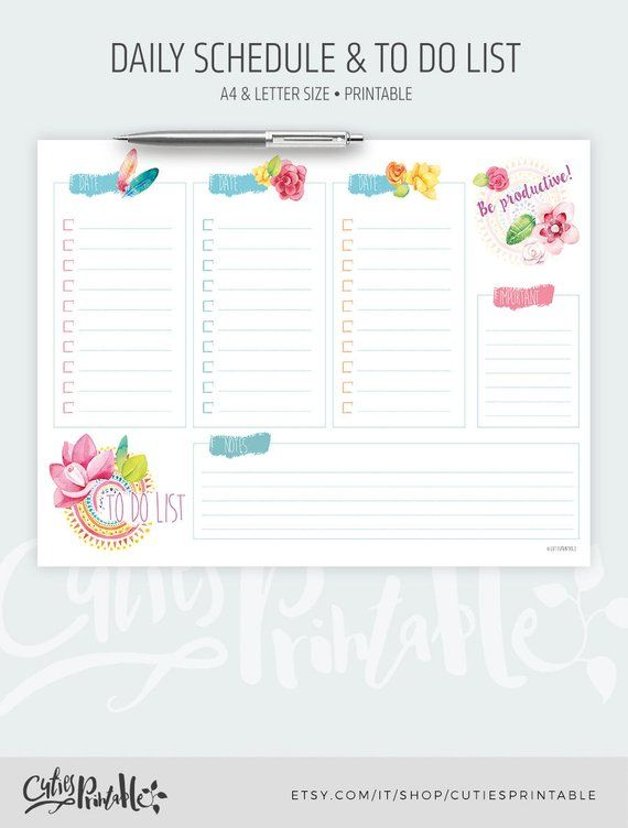 Organize your day in style! Printable Daily Schedule in lovely soft
