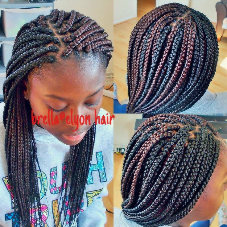 small to medium size box braids done with color 30 and 1b