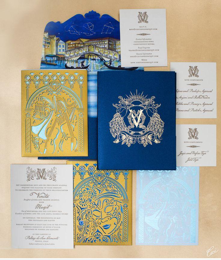 CeciStyle V117:: Venetian Fantasy ::   Be inspired by Vinita & Muqit's vibrant Venetian celebration - wedding, letterpress printing, laser-cut printing, foil printing, watercolor painting, die cutting, digital printing