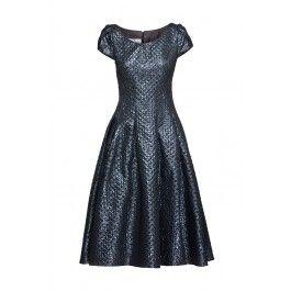 Granatowa sukienka MEDEA nabłyszczana