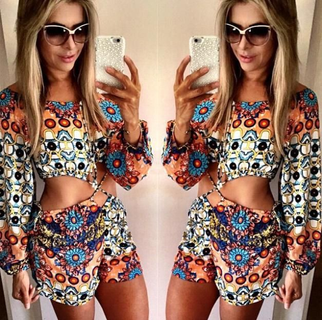 2015 new fashion women long sleeve flower print sexy Jumpsuits rompers warist hollow out macacao feminino e macaquinhos vestidos: