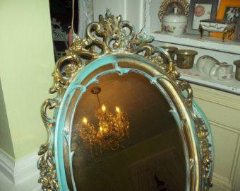 Or pépinière, aqua, élégant et exquis orner Français pays, Hollywood régence Beachy, bébé blanc miroir