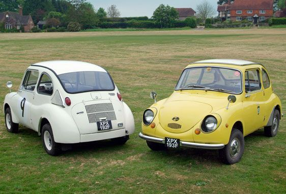 1967 Subaru 360.  My mom had a yellow one.  She sold it for $400 in the mid 70's.  That thing was screamin' cute.