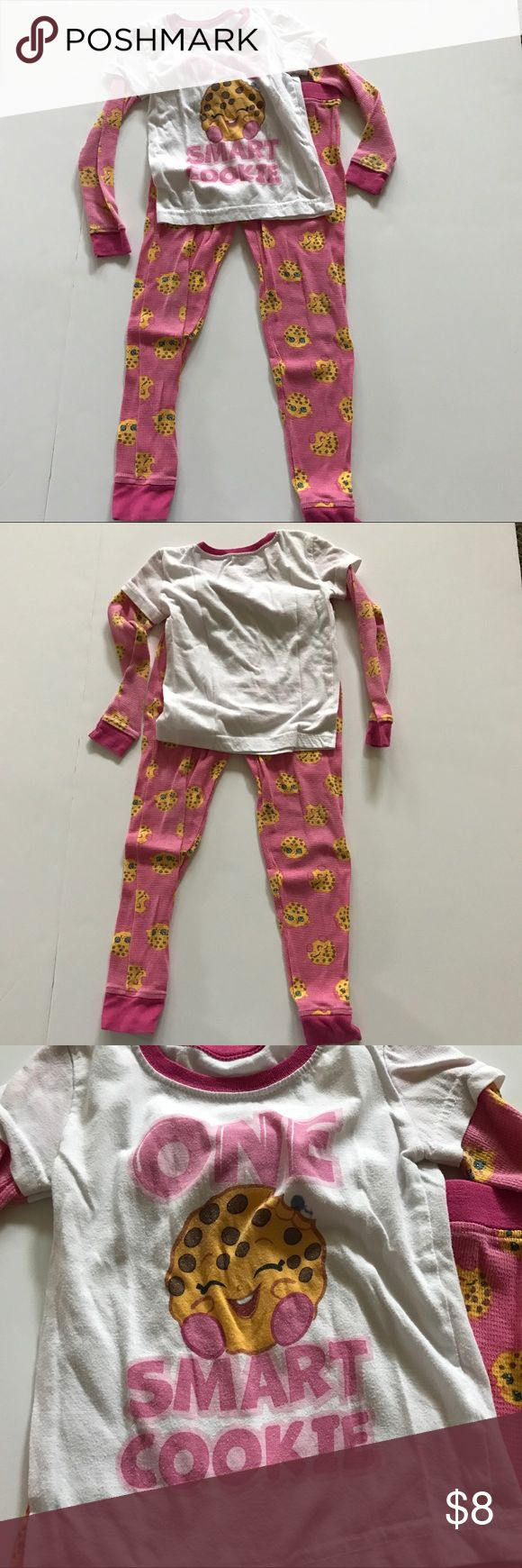 Moose Shopkins cookie pjs Moose Shopkins cookie pjs - top is white with pink waffle type sleeves with cookies on them. Front has one smart cookie on it; has small marker stain on front shown in pic. Bottoms are pink waffle type with cookies on them. Show wash wear Moose Pajamas Pajama Sets