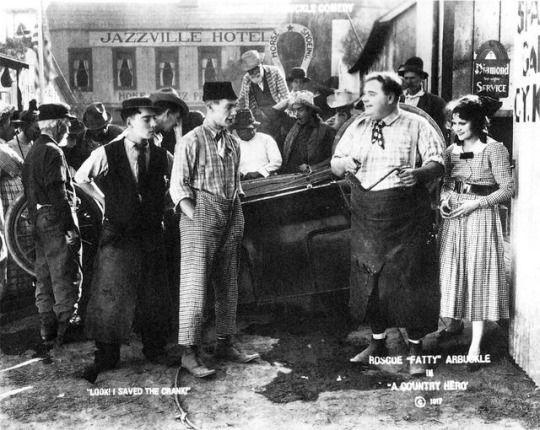 "Buster Keaton, Al St. John, Roscoe Arbuckle and Alice Lake, ""A Country Hero"", 1917. Check your attics, it's a lost film."