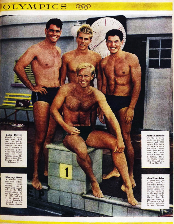 1960 U.S. Olympic Swimmers Group shot  1. Background: environmental @ pool, start platform 2. Light: ambient with fill 3. Composition: group pose