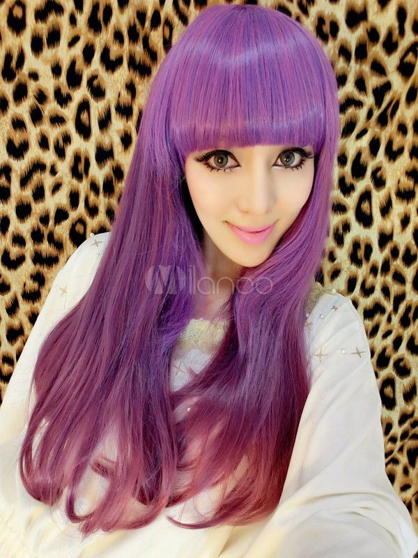 [27,32€] Parrucche lunghe senza cappelle viole lunghe lisci in materiale sintetico classiche tradizionali per donne