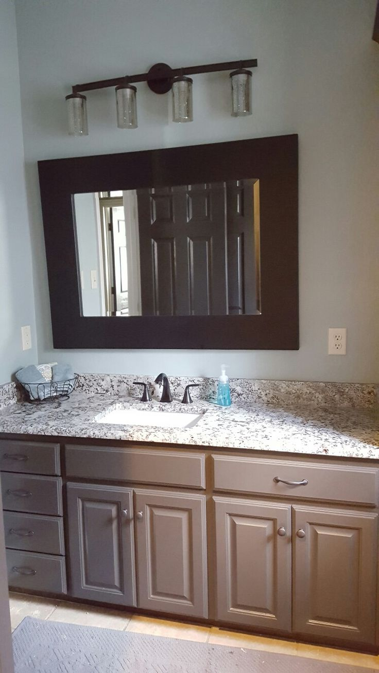Sherwin Williams Urban Bronze Cabinets and Sea Salt walls