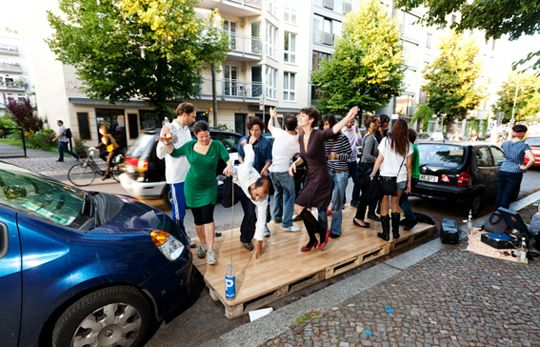 Labplatz--now this is what I call a fabulous use of a parking space: DISCO! By architects Stiftun Freizeit with BMW Guggenheim Lab in Berlin.