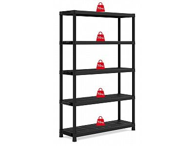 Extra Wide Heavy Duty 5 Tier Solid Plastic Shelving Unit - 75kg/shelf