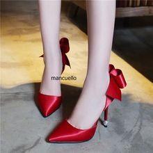 Sexy Women Red Silk Stiletto High Heels Pretty Point Toe Bowtie Dress Shoes  Fancy Slip On 8662e3f6fd04