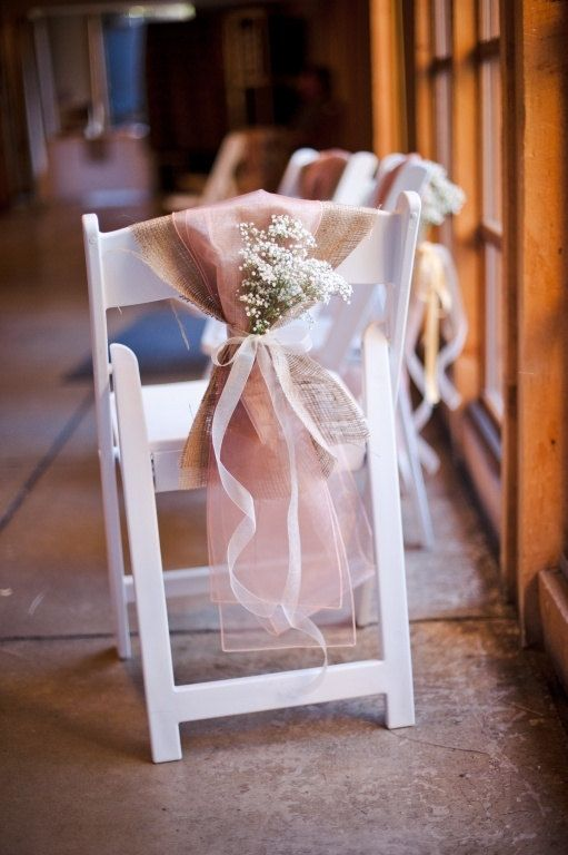 Burlap chair sash  Rustic wedding by MadeInBurlap on Etsy, $7.00