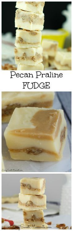 Delicious chewy Pecan Praline Fudge Recipe - 2 white chocolate fudge layers with a creamy and crunchy pecan praline center. Absolutely melt in your mouth amazing!