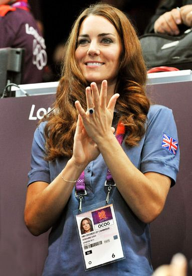 Catherine cheered on Team Great Britain's handball players in a polo shirt, and had an official lanyard on that read HRH Duchess of Cambridge, Honored Guest. Like anyone needed reminding!