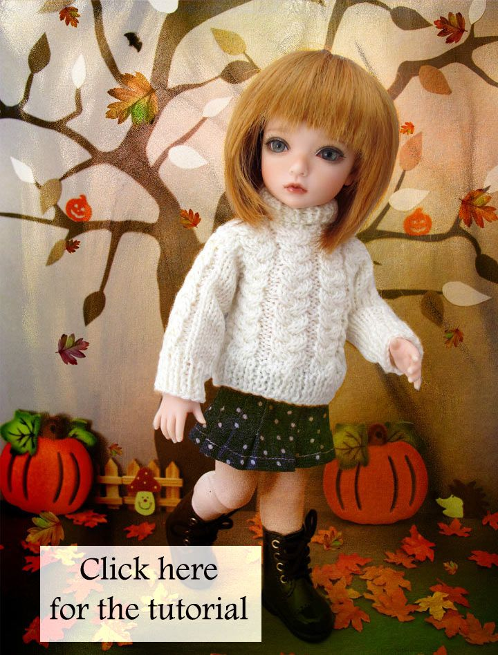 """""""Tresses"""", cable sweater for BJD Iplehouse BID or any other doll of the same size (26 cm)."""