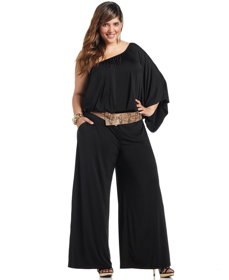 Baby Phat Plus Size Jumpsuit One Shoulder Belted Plus