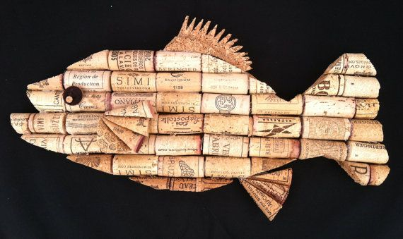 Fish wall hanging made from recycled corks