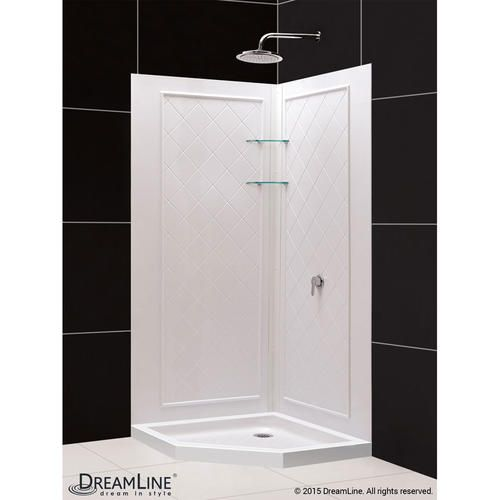 DreamLine SlimLine 36 in. x 36 in. Neo-Angle Shower Base and QWALL-4 Shower Backwall Kit