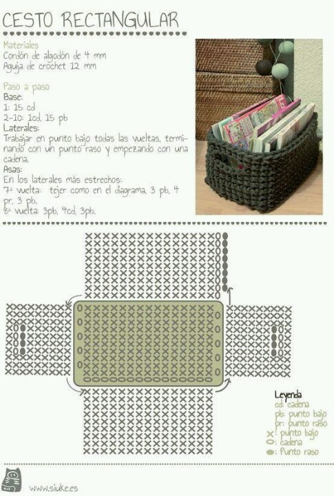 "Foto de ""la magia del crochet"": Crochet Baskets, Crochet Trapillo, Rectangular De, Cesto Rectangular, Rectangular Baskets, Basket, Of Trapillo, Crochet Patterns, Crochet"